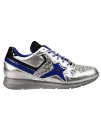 John Richmond | Blue Shoes Esther Sneakers Leather Laminated E Glitter | Lyst