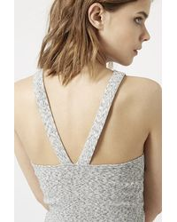 TOPSHOP - Gray Cross-back Halter Crop Top - Lyst