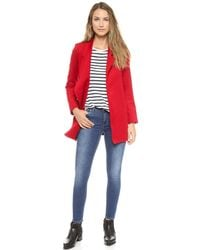 Nicholas - Felted Wool Coat Neon Red - Lyst