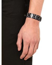 Saint Laurent - Black Hexagon Studded Leather Cuff for Men - Lyst
