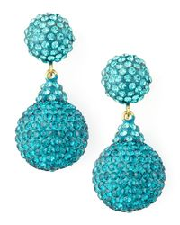 Jose & Maria Barrera - Pave Crystal Doubledrop Earrings Light Blue - Lyst