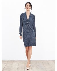 Banana Republic | Blue Faux-wrap Knit Dress | Lyst