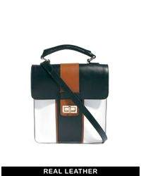 ASOS - Multicolor Leather Top Handle Bag in Colour Block - Lyst