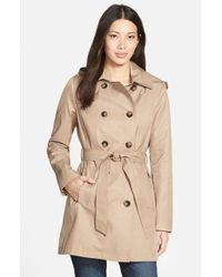 DKNY | Natural Double Breasted Trench Coat With Removable Hood | Lyst