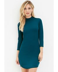 Forever 21 | Blue High-neck Bodycon Dress | Lyst