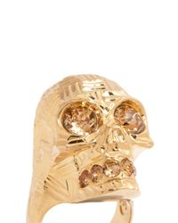 Alexander McQueen | Metallic Steel Floor Plate Pattern Skull Ring | Lyst