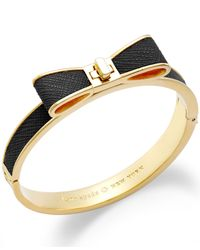 kate spade new york - Metallic 12K Gold-Plated Leather Bow Bangle Bracelet - Lyst