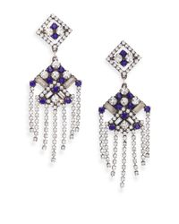 DANNIJO | Blue Laurel Crystal Tassel Earrings | Lyst