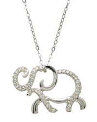 Lord & Taylor - 14kt. White Gold And Diamond Elephant Pendant Necklace - Lyst
