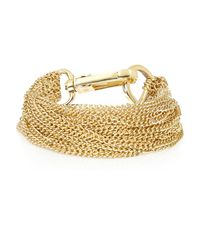 River Island | Metallic Gold Tone Multi Chain Bracelet | Lyst