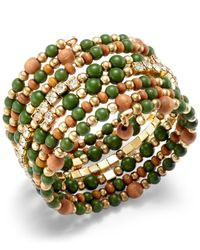 INC International Concepts | Green Gold-tone Multi Bead And Crystal Coil Bracelet | Lyst
