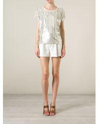 MICHAEL Michael Kors - White Striped Sequin Top - Lyst