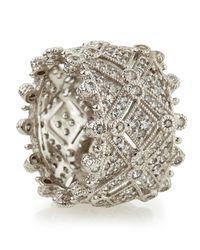 Judith Ripka - Metallic Deco Estate Diamond Wide Band Ring - Lyst