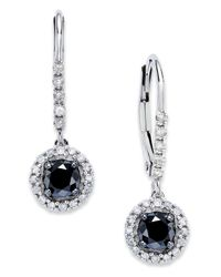 Macy's - 14K White Gold Earrings, Black And White Diamond Leverback Earrings (1 Ct. T.W.) - Lyst