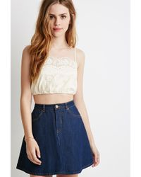Forever 21 | White Embroidered Crochet Cropped Cami | Lyst