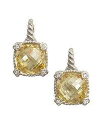 Judith Ripka - Metallic Canary Crystal Large Cushion Earrings - Lyst