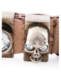 Alexander McQueen - Pink Embellished Skull Bracelet for Men - Lyst
