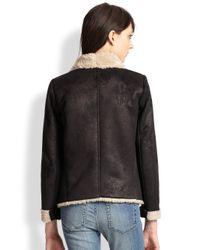 The Kooples - Black Faux Shearling Draped Jacket - Lyst
