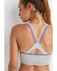 Forever 21 - Gray Low Impact - Seamless Heathered Sports Bra - Lyst