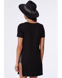 Missguided - Split Side T-shirt Black - Lyst