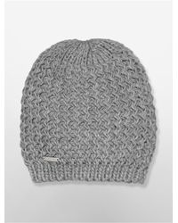 Calvin Klein - Gray White Label Chunky Knit Beanie - Lyst