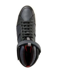 HUGO | Blue Sneakers 'fuster Mid' In Leather for Men | Lyst