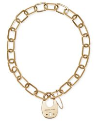 Michael Kors | Metallic Gold-tone Link Padlock Pendant Necklace | Lyst