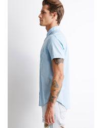 Forever 21 - Blue Textured Pocket Shirt for Men - Lyst