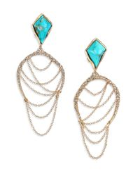 Alexis Bittar | Blue Miss Havisham Jagged Howlite Turquoise & Crystal Draped Chain Clip-On Earrings | Lyst