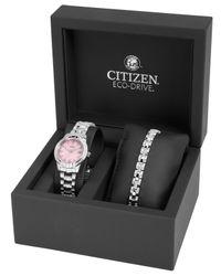 Citizen | Gray Women'S Eco-Drive Interchangeable Stainless Steel Bracelet Watch Set 29Mm Ew1680-63X | Lyst