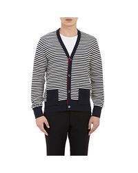 Thom Browne - Blue Striped V-neck Cardigan for Men - Lyst