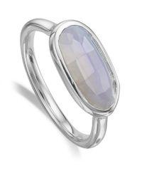 Monica Vinader - Metallic Vega Blue Lace Agate Ring - Lyst