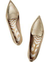 Nicholas Kirkwood - Metallic Textured-Leather Point-Toe Flats - Lyst
