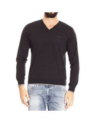 Armani Jeans | Black Sweater V With Patches Contrast for Men | Lyst