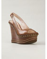 Casadei | Brown Wedge Sandals | Lyst