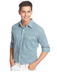 Izod - Green Roll-tab Plaid Pocket Long Sleeve Shirt for Men - Lyst