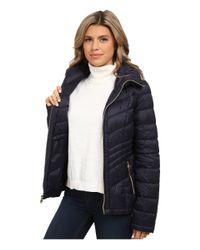 MICHAEL Michael Kors | Blue Packable Down Rouched Coat | Lyst