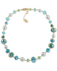 Carolee | Green Gold-tone Beaded Collar Necklace | Lyst