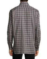 Ike Behar - Purple Check Sport Shirt for Men - Lyst