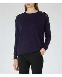Reiss - Blue Aurelia Lace-shoudler Jumper - Lyst