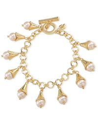 Carolee - Metallic Gold-Tone Drop Charm Bracelet - Lyst