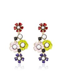 Oscar de la Renta | Multicolor Flower Pearl Drop Earring | Lyst