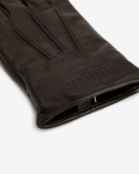 Ted Baker - Brown Textured Leather Gloves for Men - Lyst