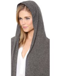Vince - Gray Hooded Cashmere Cardigan - Lyst