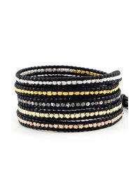 Chan Luu | Mixed Nugget Wrap Bracelet On Black Leather | Lyst