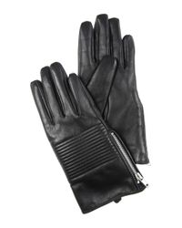 Jane Norman - Black Quilted Leather Gloves S/m - Lyst