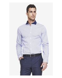 Express | Blue Tall Extra Slim Striped Dress Shirt for Men | Lyst