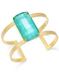 kate spade new york | Blue 12K Gold-Plated Aqua Stone Cuff Bracelet | Lyst