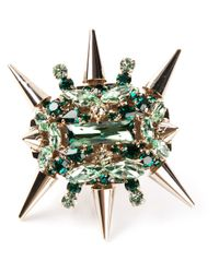 Philipp Plein - Green Spiked Cocktail Ring - Lyst