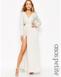 ASOS - White Petite Draped Plunge Cut Out Maxi Dress - Lyst
